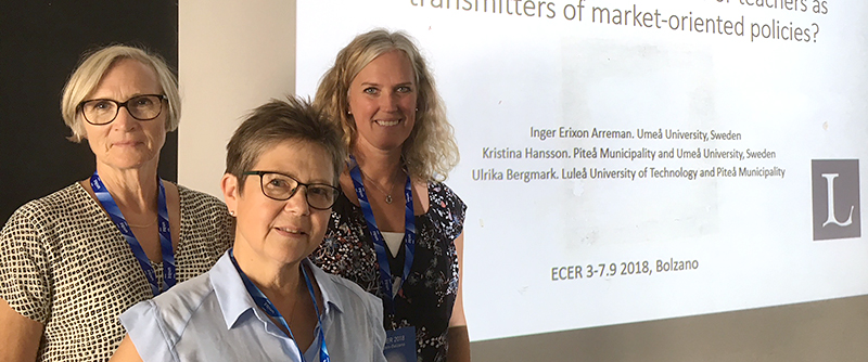 Kristina Hansson, Inger Erixon och Ulrika Bergmark presenterade studien Reforms for Scientific-based Education and Proven Experience in Sweden – academisation of teachers or teachers as transmitters of market-oriented policies?